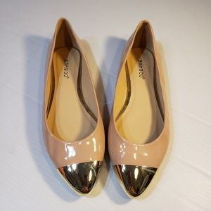 Bamboo Nude Patent Gold Toe Caps Ballet Flats 8.5M